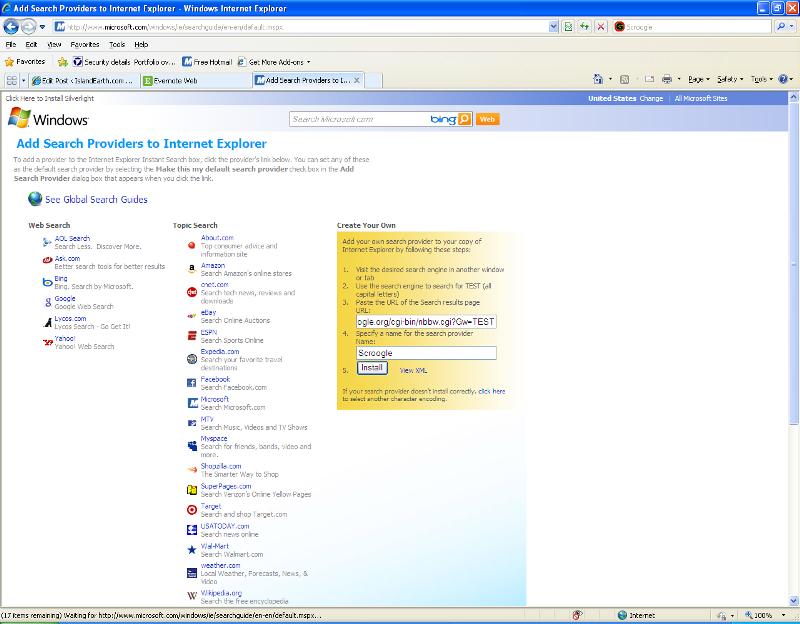 Microsoft Search Provider Web Page